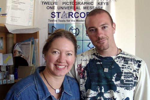 Lee Hancock wearing his Starcode 13th Key, with Angela Dicker