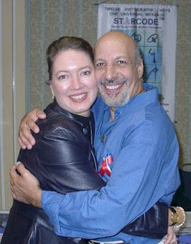 Erick Avari and Angela Dicker with Starcode and The Myriad Intuitive Card Deck based on Starcode Symbols at Gatecon