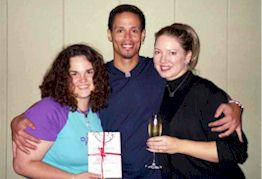 Peter Williams and Angela Dicker with the Starcode Charity Auction winner Melissa Smith at BOBW 11