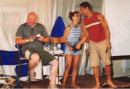 Don S Davis, Teryl Rothery and Peter Williams drawing the Starcode Charity Auction winner at BOBW 11